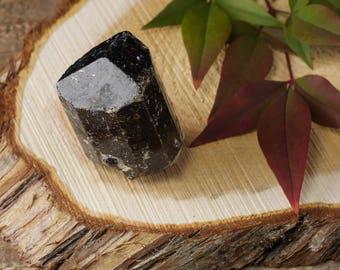 One Medium DRAVITE Rough Stone Tourmaline Crystal - Tourmaline Jewelry Making, Raw Tourmaline Pendant, Brown Tourmaline E0418