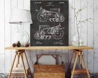 Tractor Blueprint, Farm Tractor Patent Print, Farm Patent Print, Printed on Canvas, Vintage Wall Decor, Vintage Wall Decor