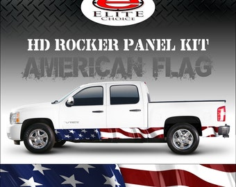 """American Flag Rocker Panel Graphic Decal Wrap Truck SUV - 12"""" x 24FT"""