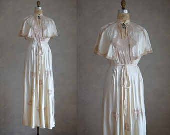 vintage cream silk charmeuse peignoir set | vintage silk nightgown and cape  | bridal peignoir set | honeymoon lingerie
