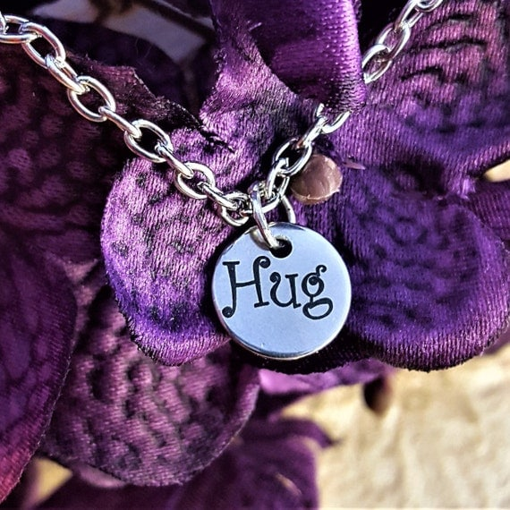 Hug Charm Necklace, Word Charms, Hugs and Kisses, Jewelry for Girls Daughter, Gift for Mom Grandma, XO Gift, Mother's Day Gift, Fun Jewelry