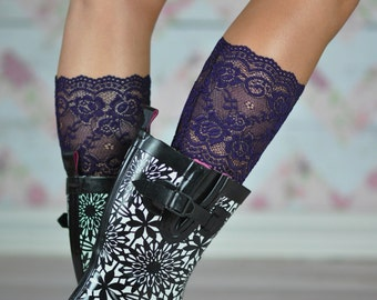 Savannah's Plum Lace Boot Cuffs