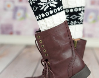 White Snow Flake Boot Cuffs