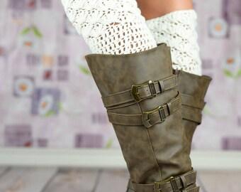 White Scallop Crochet Boot Cuffs