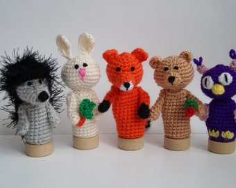 Forest animals Finger Puppet Crochet Hedgehog Fox toy Bunny puppets Crochet Owl Toddler Toy Waldorf toy Baby Shower Gift Montessori figures