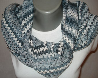 Handmade lovely crochet scarf. Gray gradient with black  cotton yarn, Summery appearance, grayscale ombre cotton