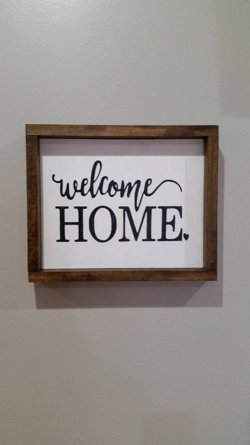Hand Painted Wood Signs Home Decor Welcome Home Wood Sign Framed Wood Sign Rustic Signs Wall