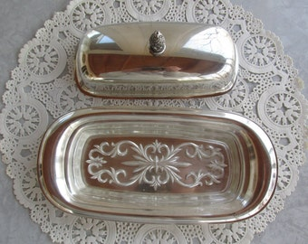 Vintage Silver Covered Butter Dish with Glass Liner