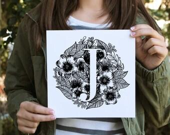 Custom initial Art Print - Monogram Letter
