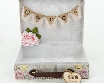 Suitcase Wedding  Card holder, Blush Wedding Card Holder, Wedding Card Holder, Vintage Card Box, Shabby Chic Card Box