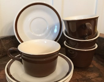 "Vintage Cavalier Ironstone ""Monterey"" Brown Tea Cups and Saucers Set of 4 