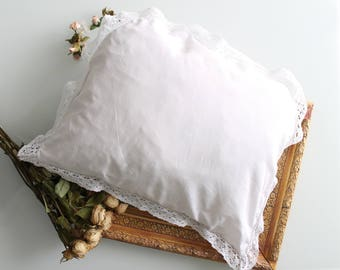 White pillowcase old baby with edge in crochet, cushion, BB171025 cover