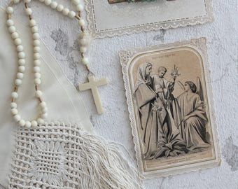 Rosary and 2 former Special (ivory pearls) - late XIXth century/pious images / old religious images /RLG170859