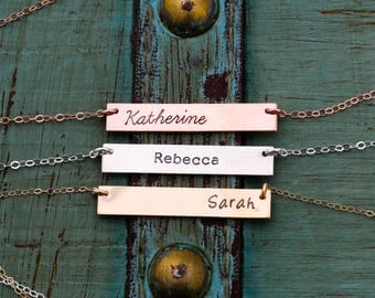 SALE • Rose Gold Bar Necklace Silver Bar Necklace • Custom Bar Jewelry • Layering Bar Pendant Nameplate Handstamped • Sterling Silver Bar