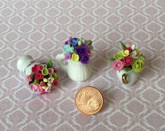 Bouquets of flowers in porcelain jar