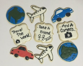 Travel theme sugar cookies