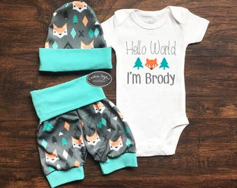 Baby Boy Coming Home Outfit, Hello World, Custom Name, Teal And Gray Fox Print Shorts And Hat, Baby Boy Shorts, Hosptial Outfit