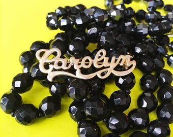 "CAROLYN Vintage Lapel Pin - 1.75"" Die Cast Pin / Tie Tack - Name Brooch - Gold Name Pin - Carol Jewelry"