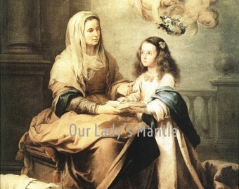 St. Anne & Young Virgin Mary by Murillo - 8x10 Catholic Print Picture from Italy