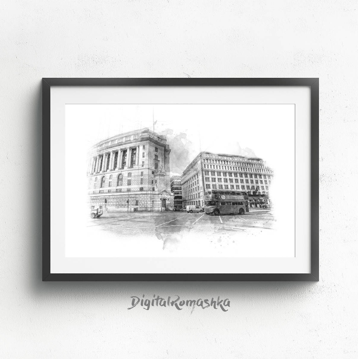 Line Drawing London Skyline Print Architectural