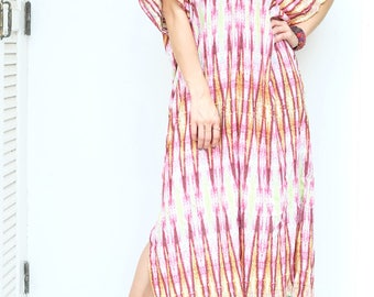 Red Yellow Printed Chiffon Beach Dress Swimsuit Bikini Cover Up | Casual Maxi Short Sleeve Dress | Spring/Summer Dress
