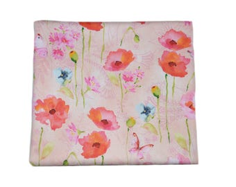 Pink and Blush Poppy Fabric, Cotton Floral Fabric, Floral Apparel Fabric