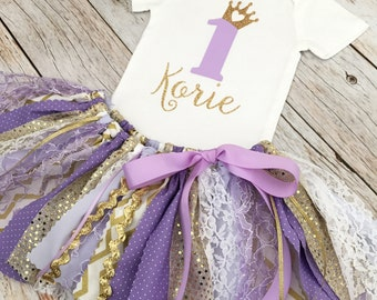 Purple/Lavender and Gold Princess Birthday Outfit with Gold Bow Headband, Purple Gold Princess First Birthday, Lavender and Gold Fabric Tutu