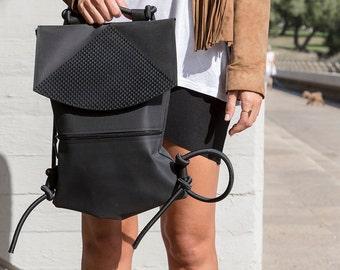 Black Rubber Backpack Shoulder Bag, Vegan Bag for School, Eco Backpack Purse, Handmade Backpack For Women, Festival Bag, Trending Item.