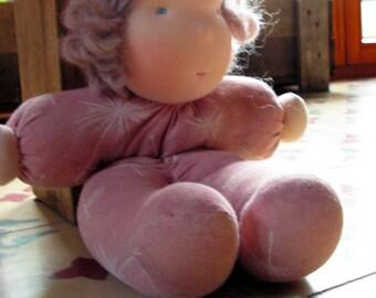 Ready to ship, Mary, Organic Waldorf doll, waldorf cuddle doll, girl, light brown hair doll, steiner doll, rag doll, handmade soft girl doll
