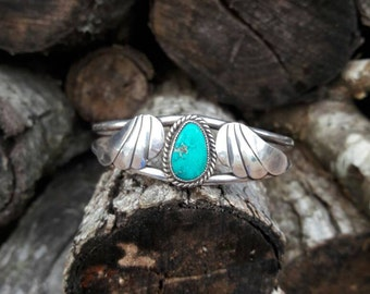 Vintage Turquoise & Sterling Silver Cuff