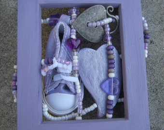 Love story with lavender tennis shoe & hearts - 'story weave in frame'