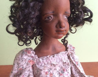 Black doll, Art doll, Ooak art doll, OOAK doll, Paperclay doll, Art clay doll