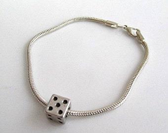 European charm bracelet dice charm lucky dice silver tone bracelet handmade gift.