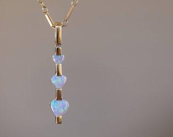 Vintage Heart Opal Gemstone 14 Karat Yellow Gold Pendant, Used Vintage Jewelry