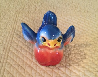 Vintage Josef Originals Ceramic Bluebird Name Card/Picture Holder