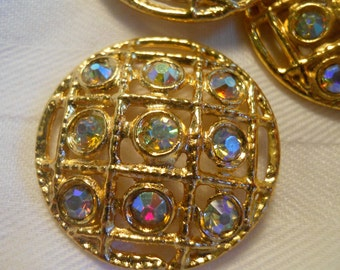 Aurora Borealus Rhinestone Button ~ Beautiful stones in gold setting ~ 1  1/8 inch