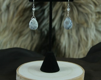 Dendritic Agate with Clear Quartz Earrings