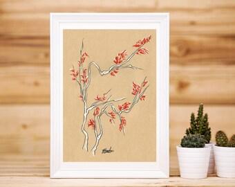 Birch Tree Branch Print