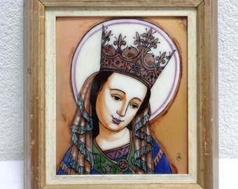 Handpainted Enamel Icon, Our Lady, Star of the Sea, Stella Maris, Framed Religious Catholic Wall Decor, Christmas Gift