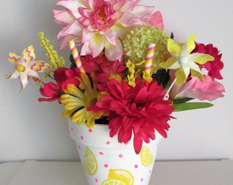 Hand-Painted Lemon Themed Silk Floral Arrangement Centerpiece, featuring Pinwheel and Candy-striped Picks
