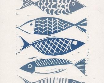 Lino print   fish print   seaside prints   linocut print   blue fish   limited edition print   linoprint   original hand pulled print
