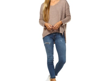 Fashionazzle Women's V Neck Loose Fit Feather Sweater Pullover Top