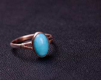 Sterling silver imitation turquoise ring 7 size ring