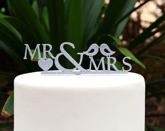 Mr & Mrs Wedding Cake Topper - Bride and Groom Wedding Cake Topper - Love Birds