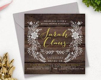 Rustic Bridal Shower Invitation Printable / Printable Bridal Shower Invitation / Floral Bridal Shower / Wedding Shower Invitation