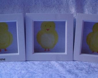 Set of three, original handpainted watercolours of chicks