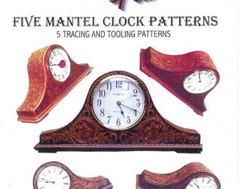 Sheridan Style Mantel Clock Leather Patterns by Chan Geer (Leathercraft Designs) [DIGITAL DOWNLOAD]