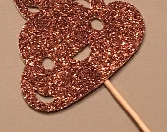 12 Glitter Poop Cupcake Toppers Poop Emoji Cupcake Toppers Glitter Cupcake Toppers Birthday Cupcake Toppers Emoji Cupcake Toppers
