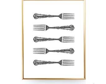 Vintage Fork Printable Wall Décor Fork Print Kitchen Printable Art Fork Art Silverware Print Kitchen Utensil Art Kitchen Print Utensil Print