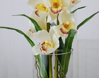 Cream, cymbidium, orchids, acrylic, water, faux, silk, Real Touch, flowers, tall, floral arrangement, centerpiece, glass, vase, home, decor